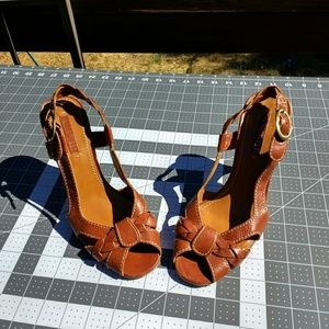 Nine West leather upper heels sexy summer size 8M